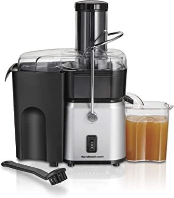 """Hamilton Beach Whole Fruit Juicer Machine, Centrifugal Extractor Extra Large 3"""" Feed Chute, Easy to Clean, Dual Speed 700W Motor, BPA Free, Silver (67840)"""