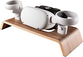 VRGE - Premium Walnut Veneer Wood Storage Stand for Oculus Quest 2 - Rift - Rift S - VR Headset and Controllers