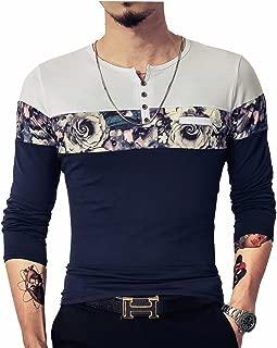 Men's Casual Slim Fit Short Sleeve Shirts Fashion Color Block Printing Henley T-Shirts