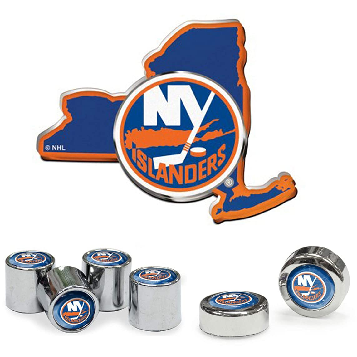 Wincraft New York Islanders Automotive Gift Set 1 Premium Decal, 4 Valve Stem Caps, and 2 License Plate Screw Covers
