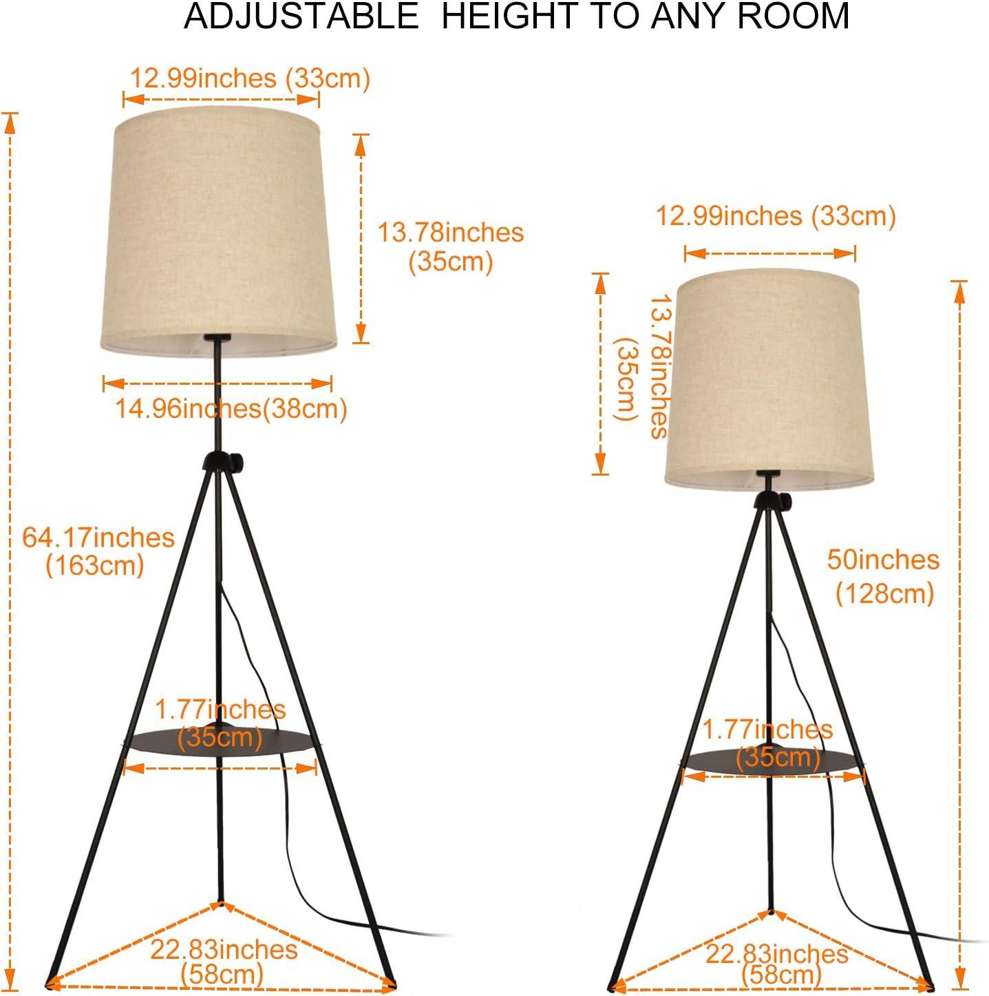 Tripod Floor Lamp with Shelves Beige Linen Lampshade Uplighter Nordic Modern Adjustable Standing Light E26 Bulb for Living Room Bedroom Office Contemporary Industrial Spotlight Black Metal Legs