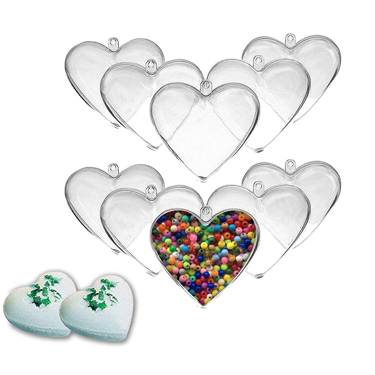EMAZON ONLINE 2.5 Inch Clear DIY Plastic Heart Shape Fillable Christmas Tree Ornaments or Bath Bomb Molds,Pack of 10