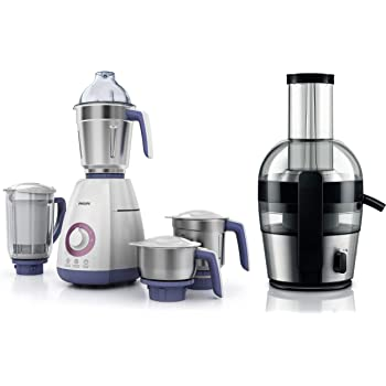 Philips Viva Collection HL770100 750 Watt Mixer Grinder + Philips Viva Collection HR186320 2 Litre Juicer (BlackSilver)