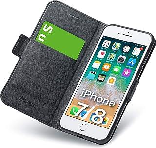 iphone8 ケース iphone7 ケース 手帳型 薄型 スマホカバー PUレザー 全面保護 耐衝撃 カード収納 マグネット付き ワイヤレス充電対応 スタンド機能 シンプル スマホケース (アイフォン8 ケース/アイフォン7 ケース ブラック)