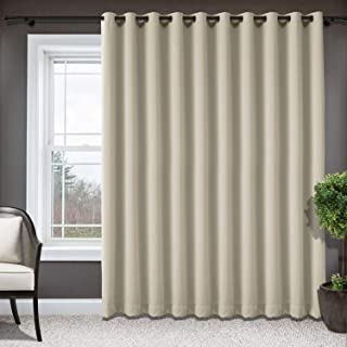 Frelement Wide Blackout Privacy Protection Curtains Room Divider Thermal Insulated Panels Grommet Curtains for Patio Dooor, Sliding Door, Foyer, Bedroom - 52 X 84 inches, Beige, 1 Panel