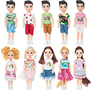 ONEST 10 Pieces 5 Inch Mini Doll with Doll Clothes Party Grown Outfits Doll Accessories for Kids