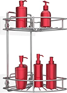 Vdomus 2 Tier Corner Shower Caddy, No Drilling Stainless Steel Bathroom Shelf Wall Mounted with Adhesive or Screws