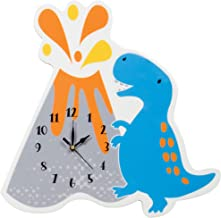 Trend Lab Dinosaur Volcano Wall Clock, Silent, Battery Operated