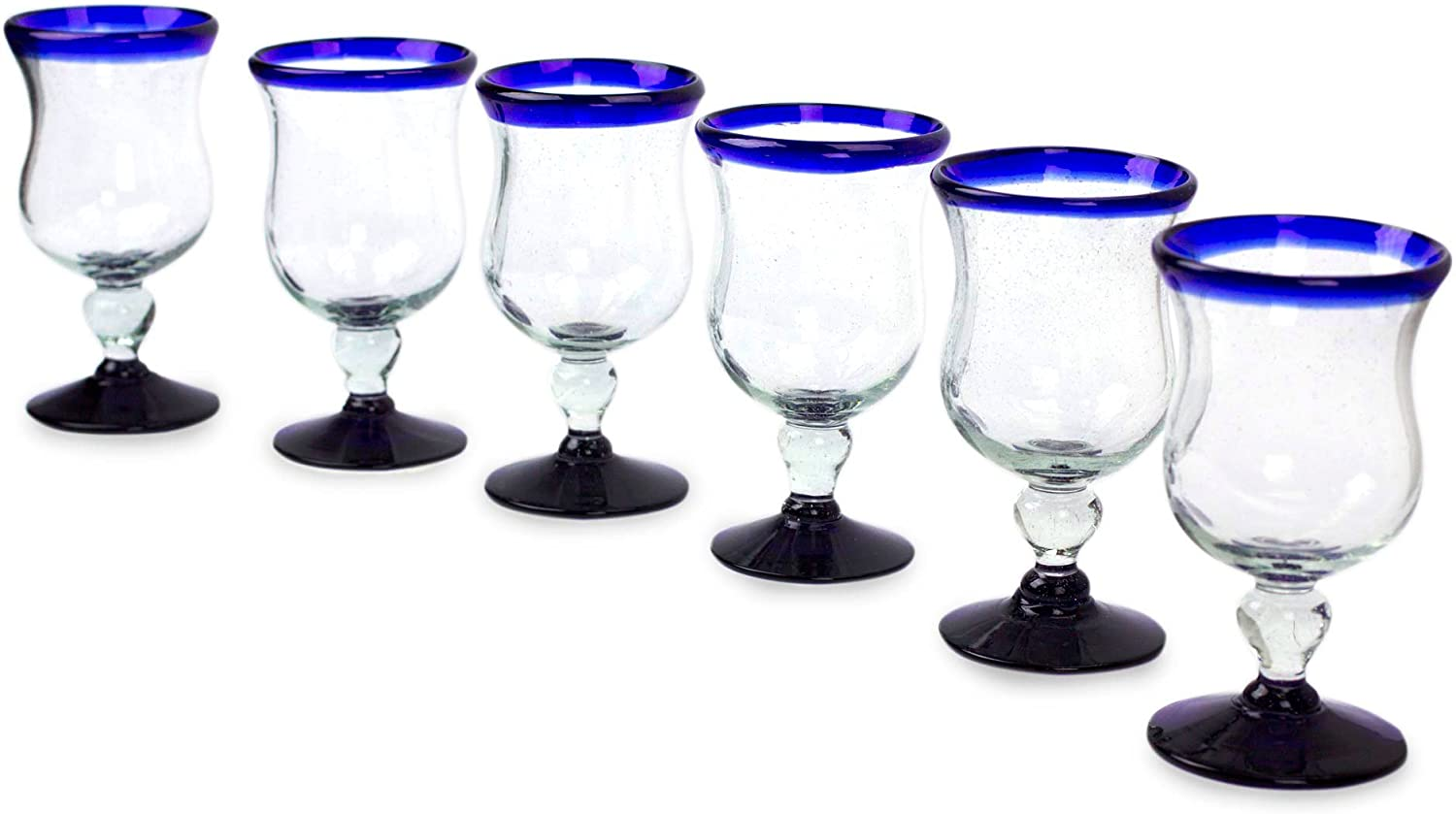 NOVICA Artisan Crafted Clear Blue Blown Manufacturer direct delivery Manufacturer direct delivery Rim Hand Recycled Glass