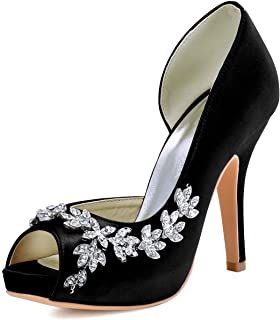 4ef065d9b08651 ElegantPark Women s Peep Toe Platform High Heel Rhinestones Satin Evening  Prom Wedding Shoes