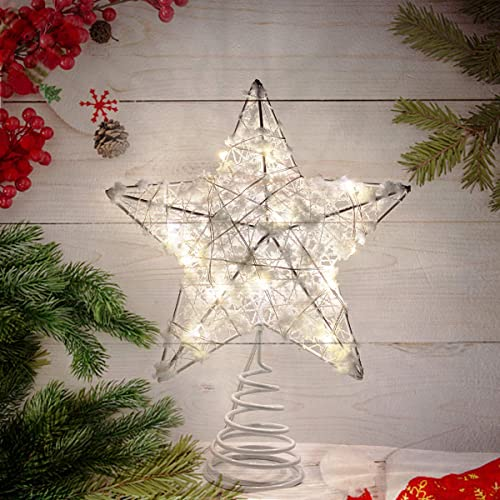 Metal Glittered Christmas Tree Topper Artificial Star Decoration for Bedroom Living Room Wire Star Topper for Christm...