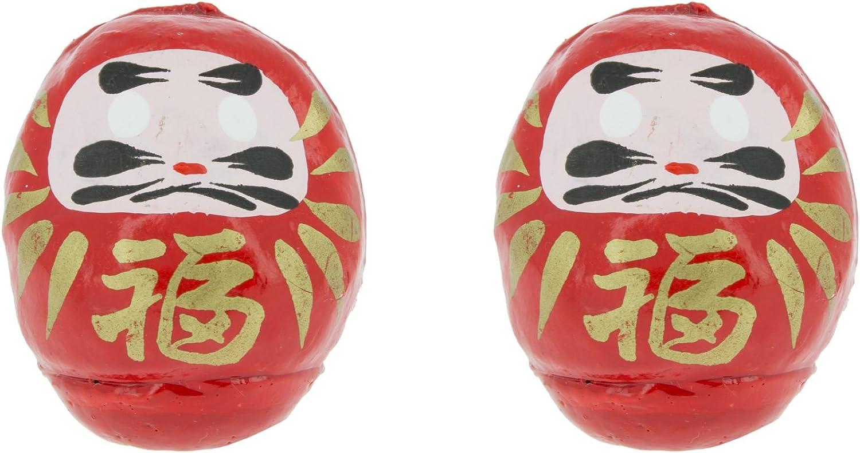 Tierra Zen Set de 2 Darumas de la Suerte pequeños, Rojo, 4.5x3x4 cm