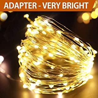 Bright Zeal 33' Very Bright LED Warm White String Lights White Wire - Wedding Decoration Lights Plug in LED Light - White Fairy Lights with Timer - Starry Lights Wedding Decoration LED White Garland
