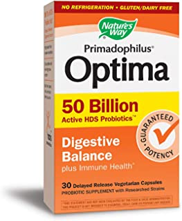 Nature's Way Primadophilus Optima 50 Billion Active HDS Probiotics Digestive Balance + Immune Health, 30 VCaps, No Refrigeration Required (Packaging May Vary)