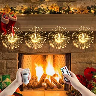 Starburst Light 150 LED DIY Battery Operated Hanging Fairy Lights Remote Control 8 Modes Dimmable Firework Copper Wire Lights for Christmas, Home, Patio, Indoor Outdoor Decoration (Warm White)