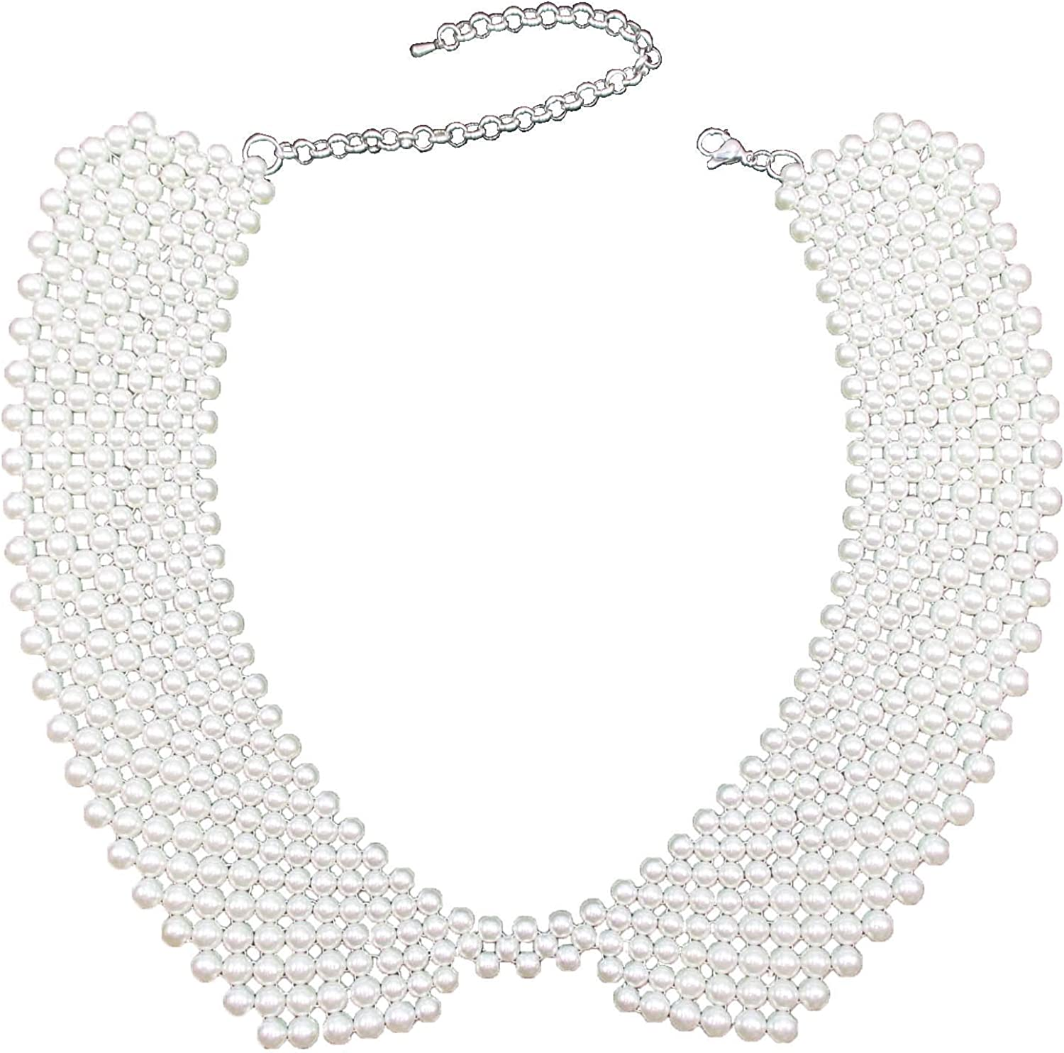 Trimscraft Collar Necklace Simulated Pearls Beads Bib Statement Necklace Detachable False Collar Lady Accessories