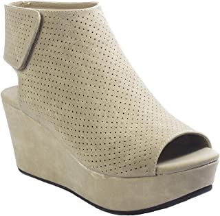 4c5f1e74c4 Pierre Dumas Women's Natural-2 Backless Slip-On Chunky Stacked Heel Fashion  Mule Bootie