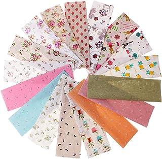 Homyl 17 peças de tecido de linho de algodão estampado com flores mistas Material de estofamento de tecido