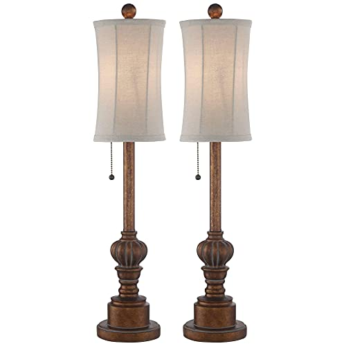 Bertie Traditional Buffet Table Lamps Set Of 2 Warm Brown Wood Tone Tall Fabric Drum Shade