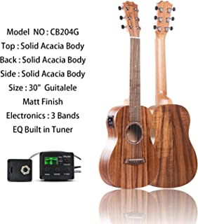 Caramel 6 Strings CB204G All Solid Acacia Acoustic Electric Ukulele Guitalele with Truss Rod