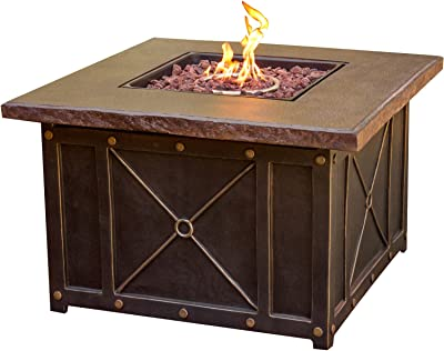 """Cambridge CLASSIC1PCFP Square Gas Fire Pit with Durastone Top, 40"""" Outdoor Furniture"""