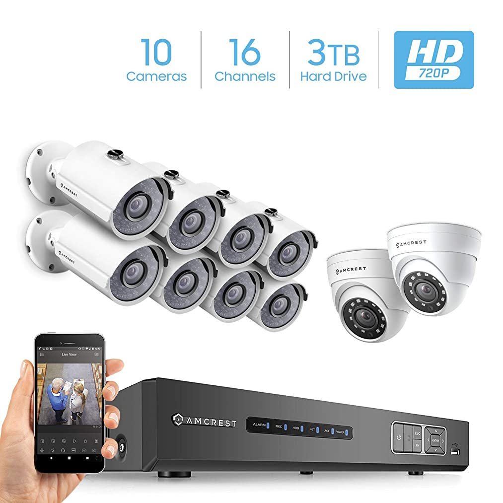 Amcrest ProHD 720P 16CH Video Security System - Ten 1.0-Megapixel (1280TVL) Outdoor IP67 Bullet & Dome Cameras, 3TB HDD, Night Vision, Remote Smartphone Access, White Mid (AMDV72016-8B2D-W)