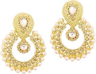 Touchstone Indian Bollywood Bridal Designer Jewelry Chandelier Earrings Chandbali for Women in Gold Tone
