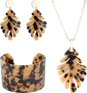 ORAZIO Acrylic Necklace Bracelet Earrings for Women Girls Resin Statement Jewelry Set