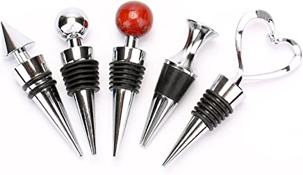 Bekith Zinc Alloy Bar Tools Wine Plug Wine & Beverage Bottle Stopper, Set of 5