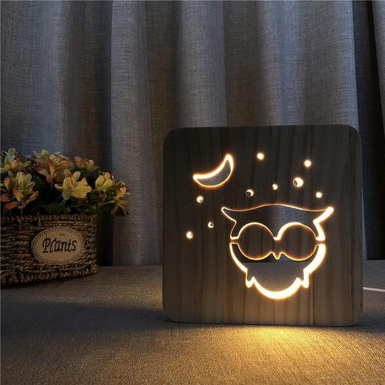 3D Lampe LED Nachtlicht Stimmungslicht Kreativ Eulentier Stereo Lichter Holzkunst Skulptu Tischleuchte Tischlampen USB Power Light Datenleitung Wechseln B07FCPZ19G  | Beliebte Empfehlung