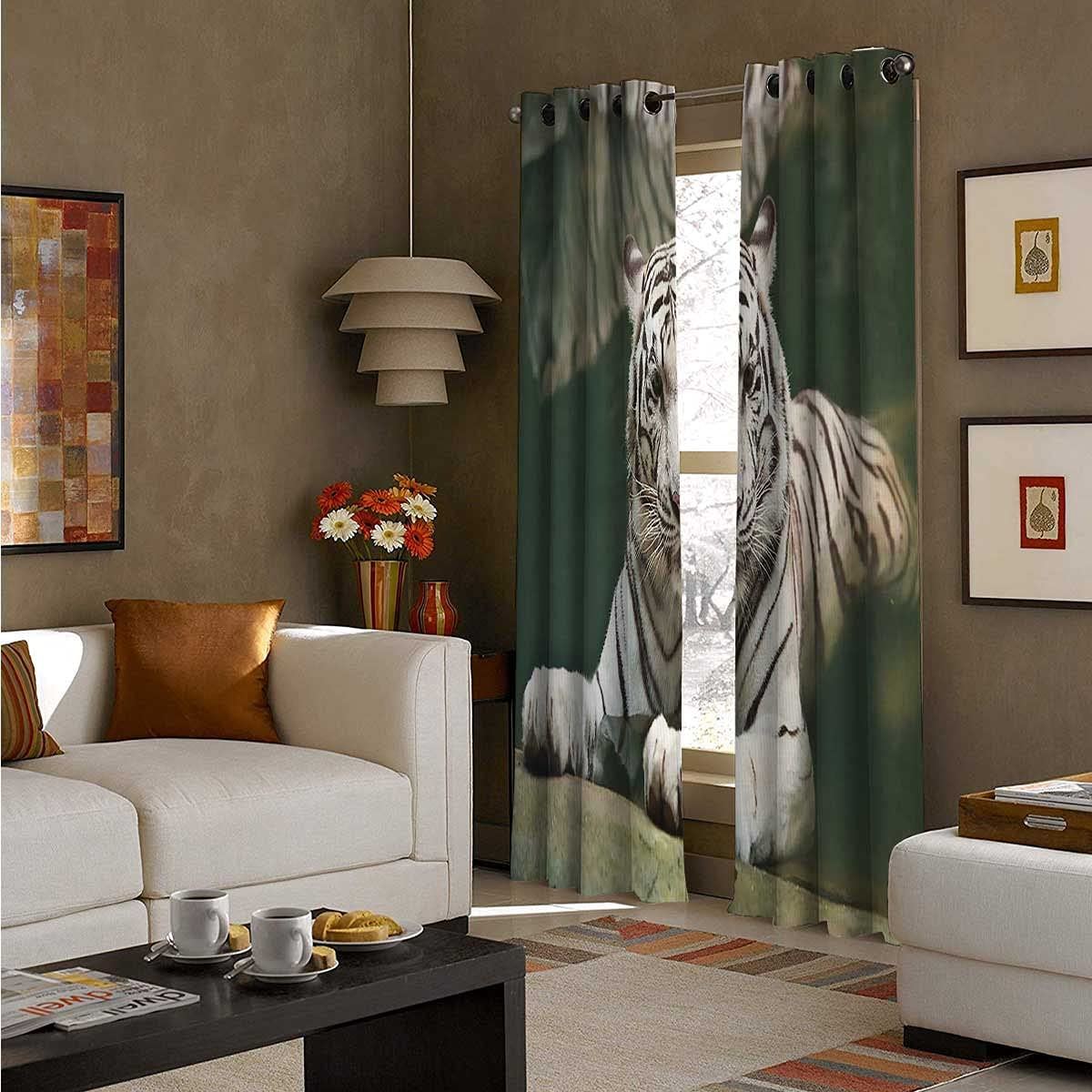 2021new shipping free shipping Room Cash special price Darkening Grommet Curtains 96 White Inch Tiger Swimmin Long