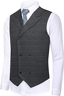 CMDC Men's Vest Slim fit Tweed Waistcoat V-Neck Herringbone Wool Plaid Suit Vest