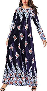 zhbotaolang Women Muslim Plus Size Dress - Ladies Long Sleeve Dubai Abaya Kaftan Floral Pattern Islamic Clothing