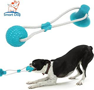 SMART DOG Suction Cup Dog Toy, Self-Playing Tug of War Dog Toy with Chew Rubber Ball, Dog Rope Toys for Chewers, Teeth Cleaning Interactive Pet Tug Toy for Boredom