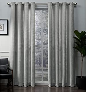Exclusive Home Curtains Winfield Heavyweight Metallic Sheen Treatment Basketweave Window Curtain Panel Pair with Grommet Top, 54x108, Silver, 2 Piece