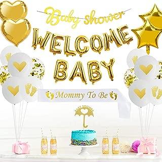 Baby Shower Decorations Supplies Kit - 38Pcs - Neutral Baby Shower Decorations for Boy or Girl - Welcome Baby Balloon Banner/Mom Sash/Baby Shower Banner/Cake Topper/Heart Foil/Star Foil/Balloons