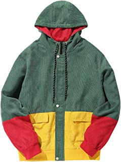 Corduroy Loose Hooded Jacket Patchwork Zip Up Snap Button Oversized Vintage Casual Windbreaker
