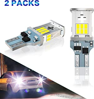 WEXZN 921 LED Light Bulbs Reverse Light Bulb Error Free 912 906 W16W T15 2000 Lumens 360 Degree Extremely Bright 6000k Xenon White 3020 Chipsets for Backup Reverse Lights (2 Pack)