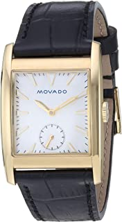 Movado Womens Heritage Swiss Quartz Stainless Steel and Leather Watch, Color:Black