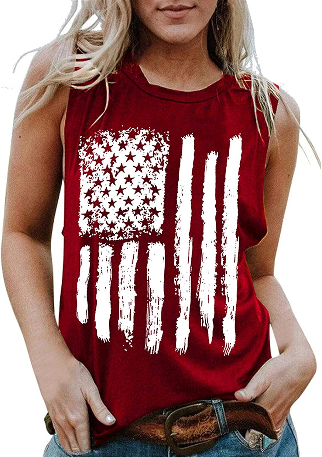 Summer Tops for Women,Women American Flag Tank Tops 4th of July Tee Summer Loose Sleeveless T Shirts