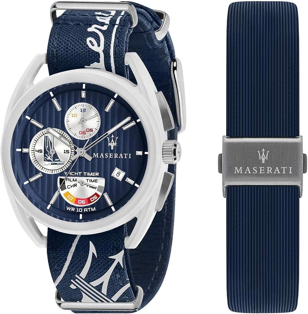 Maserati,orologio cronografo da uomo,modello realizzato in fibra di vetro, acciaio e pelle R8851132003