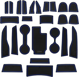 SENSHINE Cup Liner Fitted Liners for for Chevy Colorado and GMC Canyon 2020 2019 2018 2017 2016 2015 Center Console Liner Insert Accessories Kit Custom Fit(Blue Trim, Crew Cab)