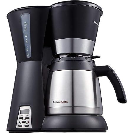 Caffettiera Macchina per caffè Macchina Caffè Americano temporizzata programmabile da 10 tazze Bonsenkitchen con filtro permanente, bricco per vuoto in acciaio inossidabile (CM8761)