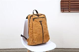 Men's Shoulder Bag Oil Wax Canvas Bag Retro Crazy Horse Skin Backpack Batik Canvas Waterproof Backpack (Color : Orange, Size : M)