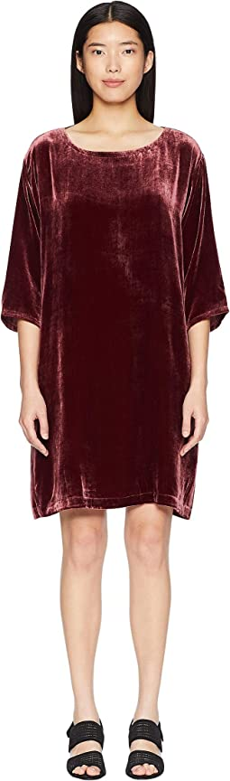 Velvet Bateau Neck 3/4 Sleeve Short Dress