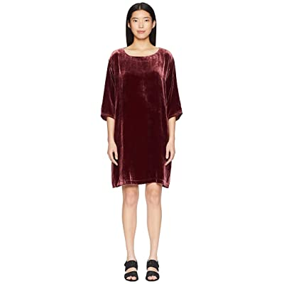 Eileen Fisher Velvet Bateau Neck 3/4 Sleeve Short Dress (Dark Monterey) Women