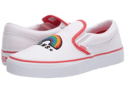 Vans Kids Classic Slip-On (Big Kid) ((Chenille) Rainbow/True White) Girls Shoes