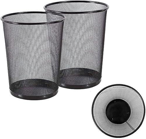 VeleSolv Metal Mesh Big Size Dustbin for Office use & Home/Multipurpose (Set of 2, Black,Metal Mesh)