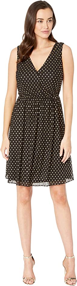 Crinkle Dot Charmeuse Surplus Fit & Flare Dress