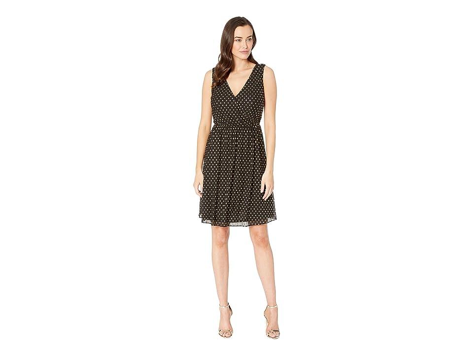 Nine West Crinkle Dot Charmeuse Surplus Fit Flare Dress (Black Multi) Women